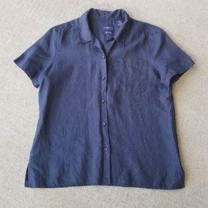 Liz Claiborne blue button front linen shirt Medium